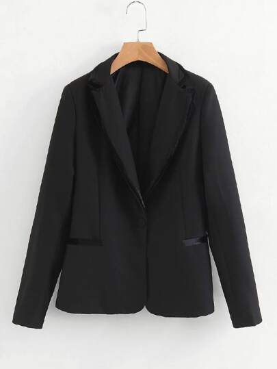 Contrast Piping Tailored Blazer
