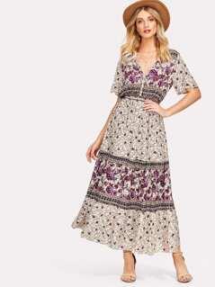 Flower Print Flutter Sleeve Dress