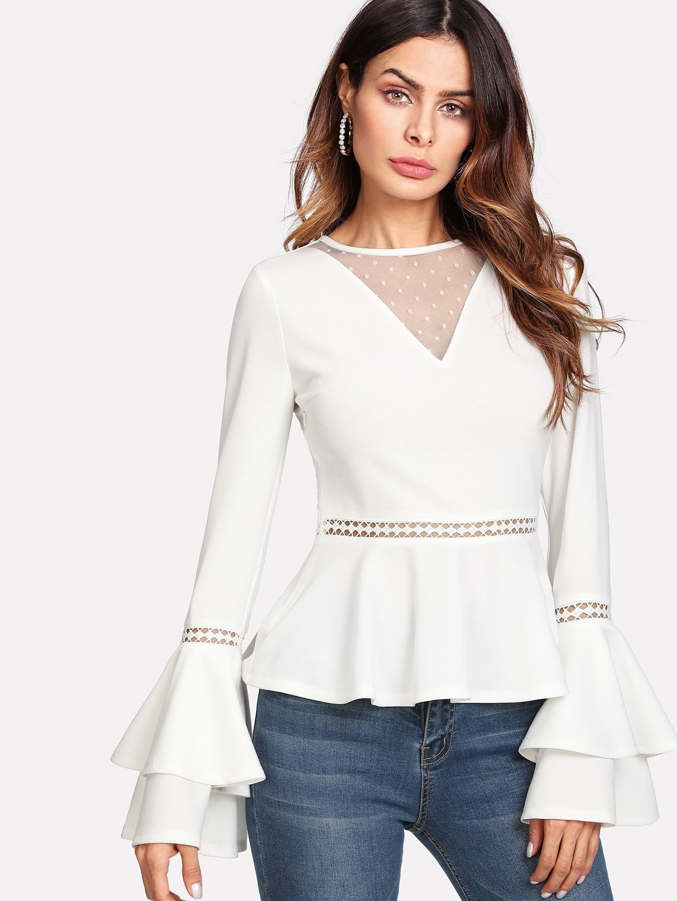 Dot Mesh V Neck Lace Insert Peplum Top ruffle neck lace yoke peplum top