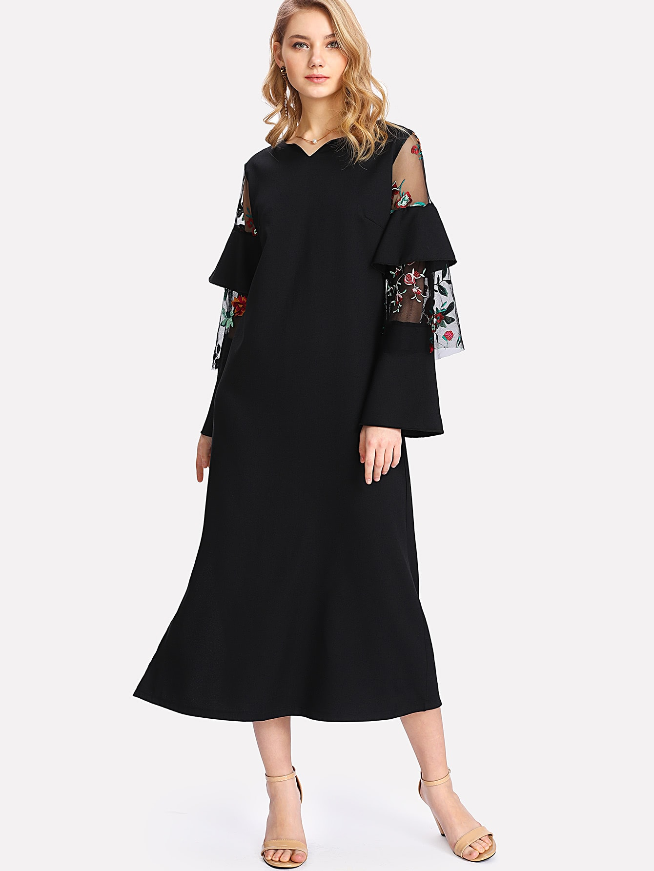 Embroidered Mesh Sleeve Split Dress plus size split sleeve embroidered top