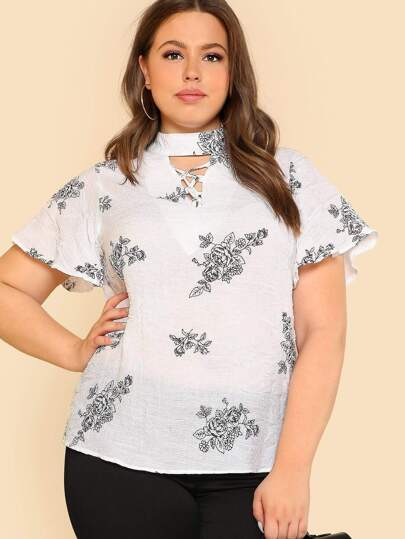 Crinkle Lace Up Front Flower Print Top WHITE