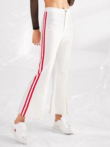 Striped Side Fold Over Hem Pants