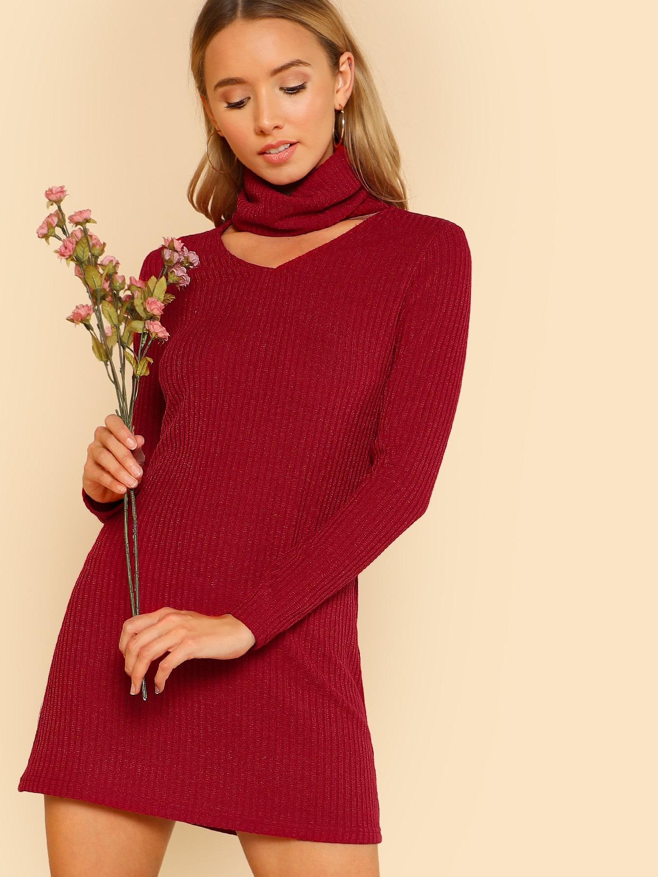 Front Cutout Turtleneck Dress lg 49uj670v телевизор