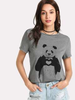 Panda Print Heather Knit T-shirt