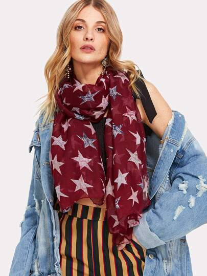 Star Print Light Scarf