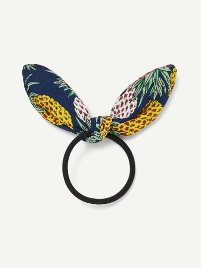 Pineapple Print Bow Hair Tie