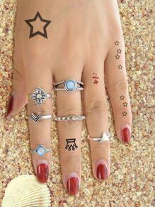 6 Pcs/Set Blue Beads Finger Ring