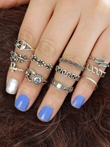 11Pcs/Set Flower Leaf Sun Jewelry Ring