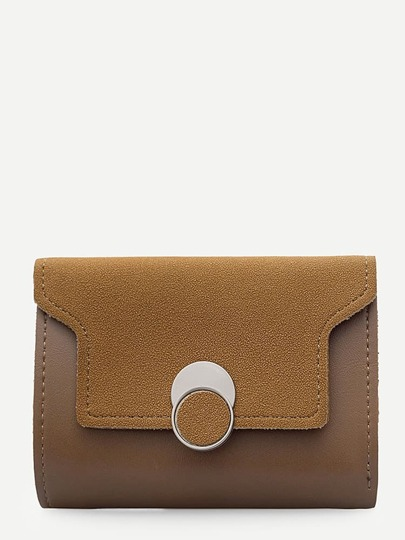 Suede Panel Clutch Bag