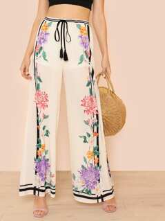 Tasseled Tie Waist Flower and Stripe Print Palazzo Pants IVORY