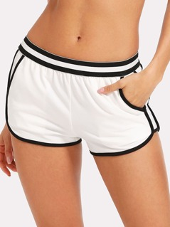 Striped Waist Dolphin Shorts