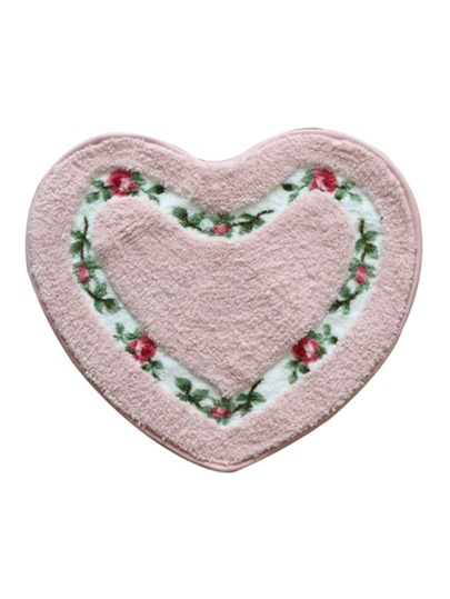 Floral Panel Heart Rug