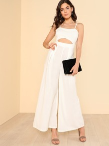 Cut Out Fold Pleated Cami Jumpsuit