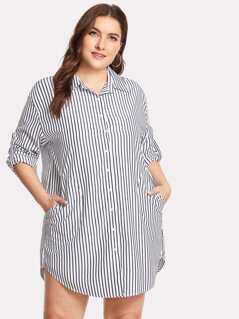Plus Vertical-Striped Curved Hem Shirt Dress