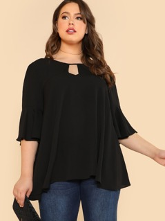 Plus Flare Sleeve Top with Front Keyhole BLACK