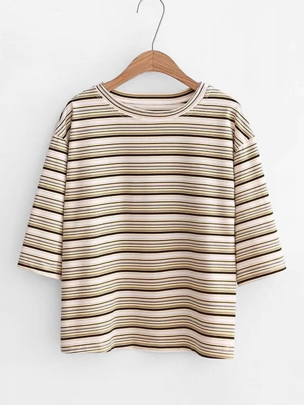Half Sleeve Striped Tee