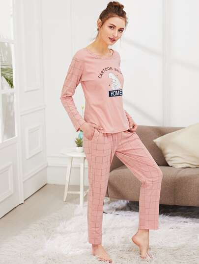 Bear Print Tee & Grid Print Pants PJ Set