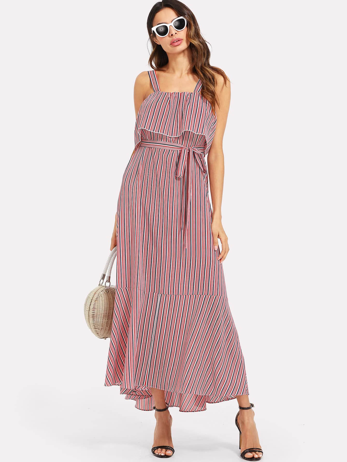 Self Belted Flounce Trim Striped Dress flounce trim one shoulder asymmetrical belted dress