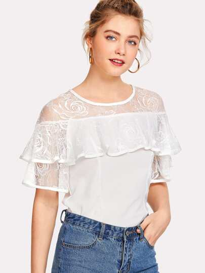 Illusion Neck Lace Ruffle Trim Top