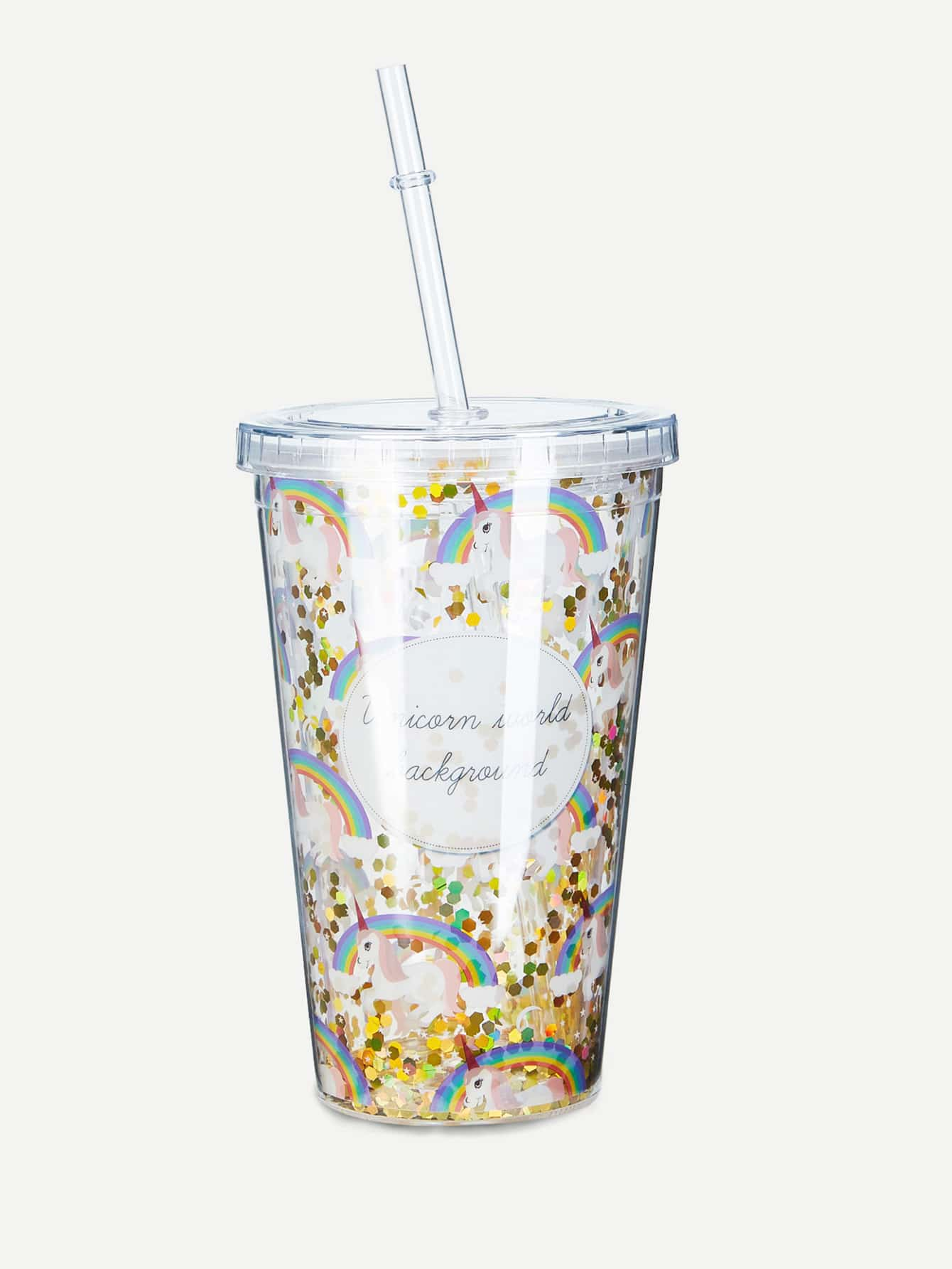 Rainbow Tumbler Cup With Lid & Straw