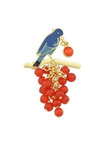 Grape Branch Enamel Bird Brooch