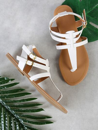 Double Buckle Strappy Thong Sandal WHITE