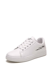 Embroidered Detail PU Sneakers