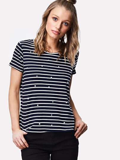 Pearl Embellished Pinstriped Tee