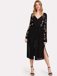 Button Up Drawstring Waist Embroidered Dress