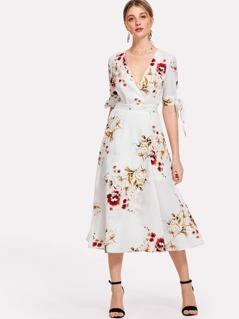 Tie Sleeve Wrap Floral Dress