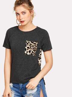 Leopard Print High Low Tee