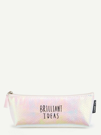 Tassel Zip Iridescent Pencil Case