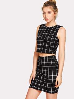 Grid Crop Top And Skirt Co-Ord
