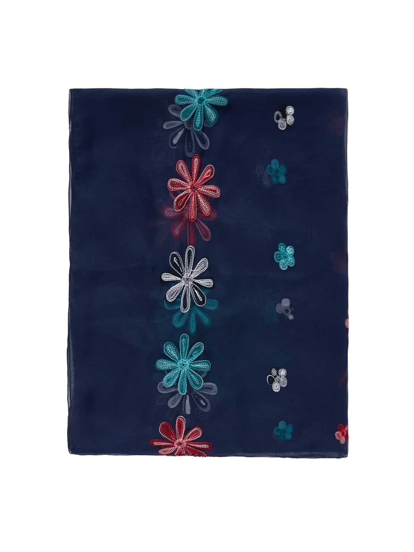 Embroidered Flower Mesh Scarf