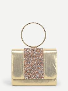 Ring Handle PU Clutch Bag