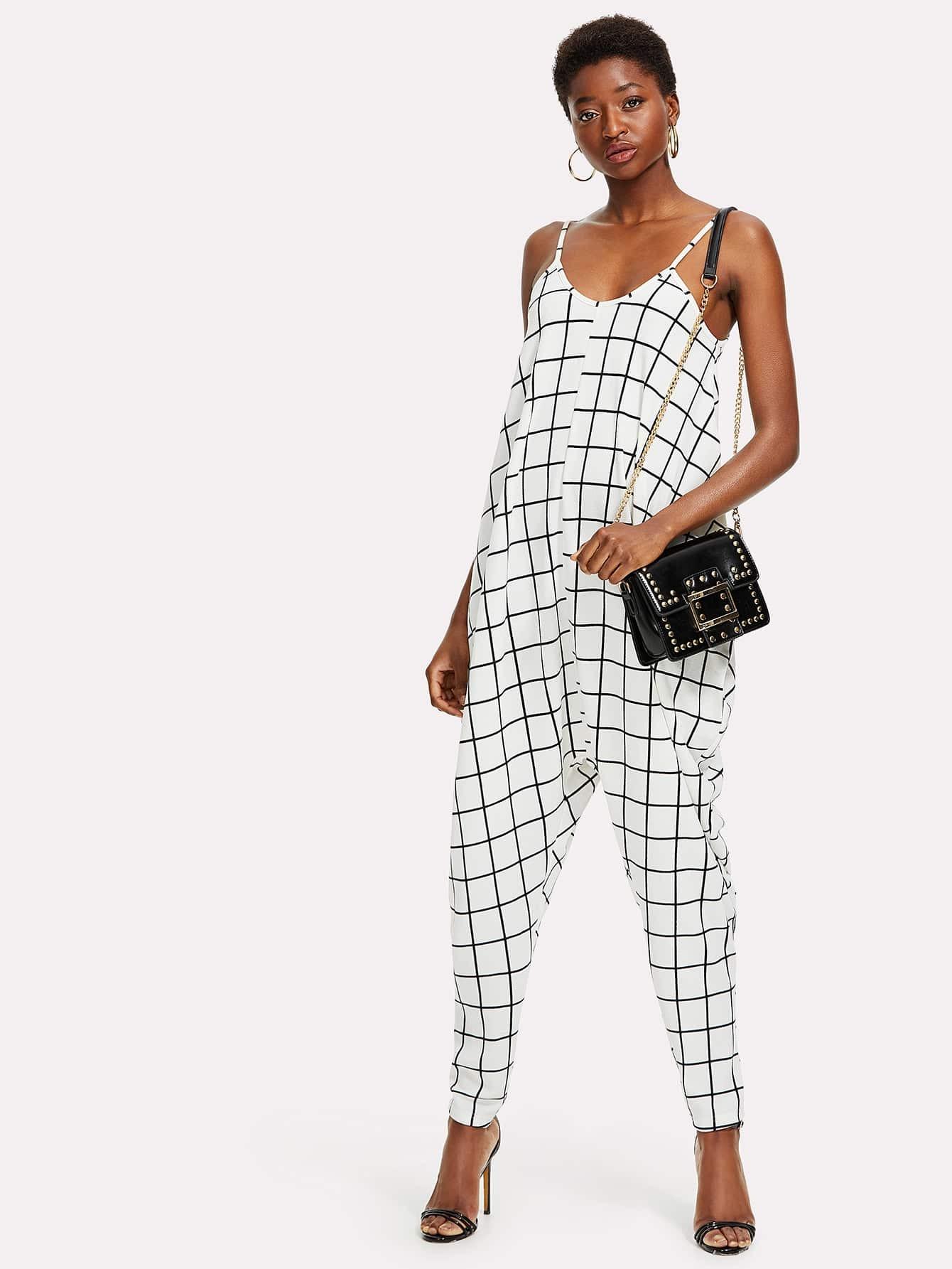 Drop Crotch Grid Cami Jumpsuit drop crotch loose two tone pants