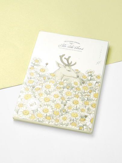 Slogan & Line Print Cover Notebook