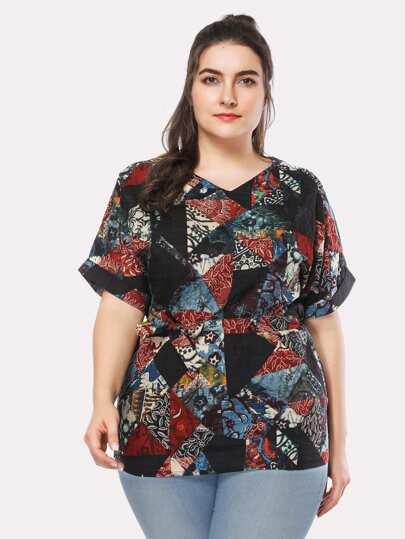 Printed Random Self Tie Waist Blouse