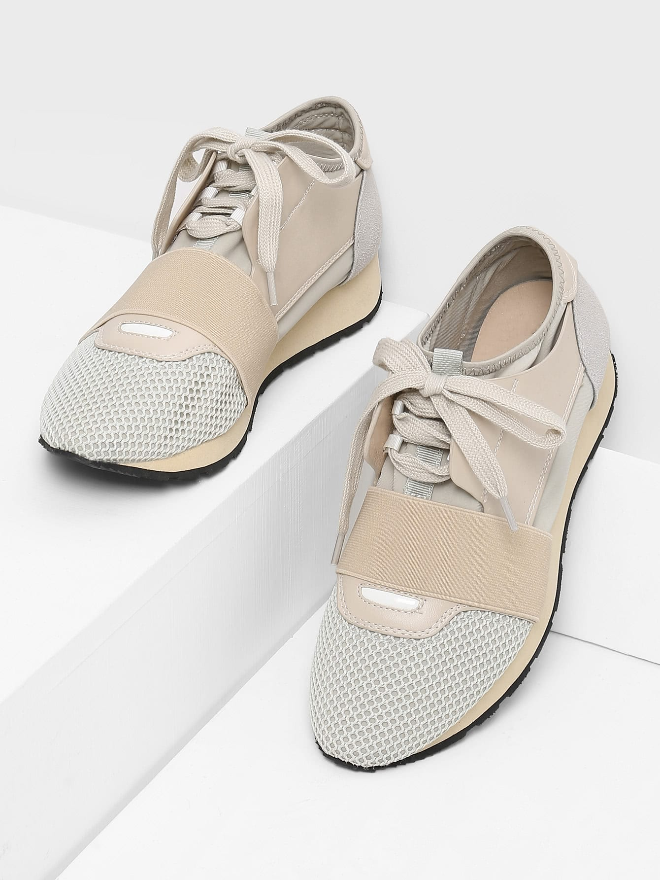 Net Surface Lace Up Sneakers