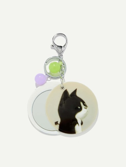 Random Color Ball Cat Pattern Round Keychain
