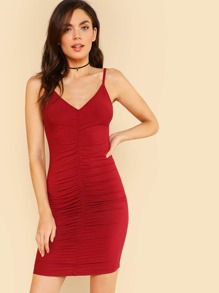 Backless Ruched Cami Dress