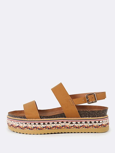 Double Band Slingback Decorated Flatform Sandal CAMEL