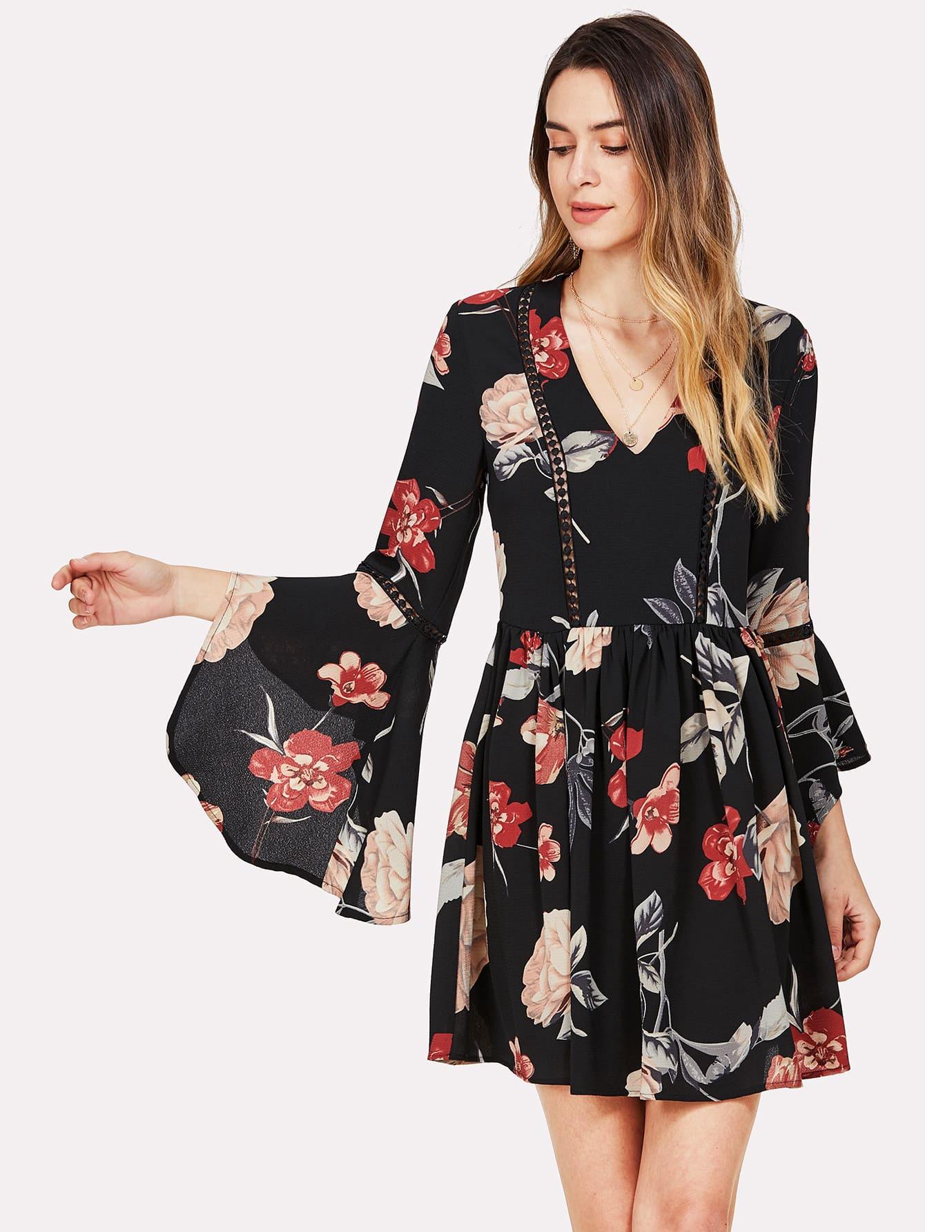 Купить Модное платье с цветочным принтом, рукав клёш, Jana, SheIn
