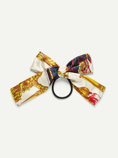 Mixed Print Ribbon Bow Hair Tie