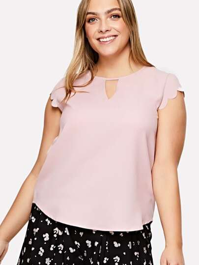 Scallop Trim Cap Sleeve Curved Hem Top