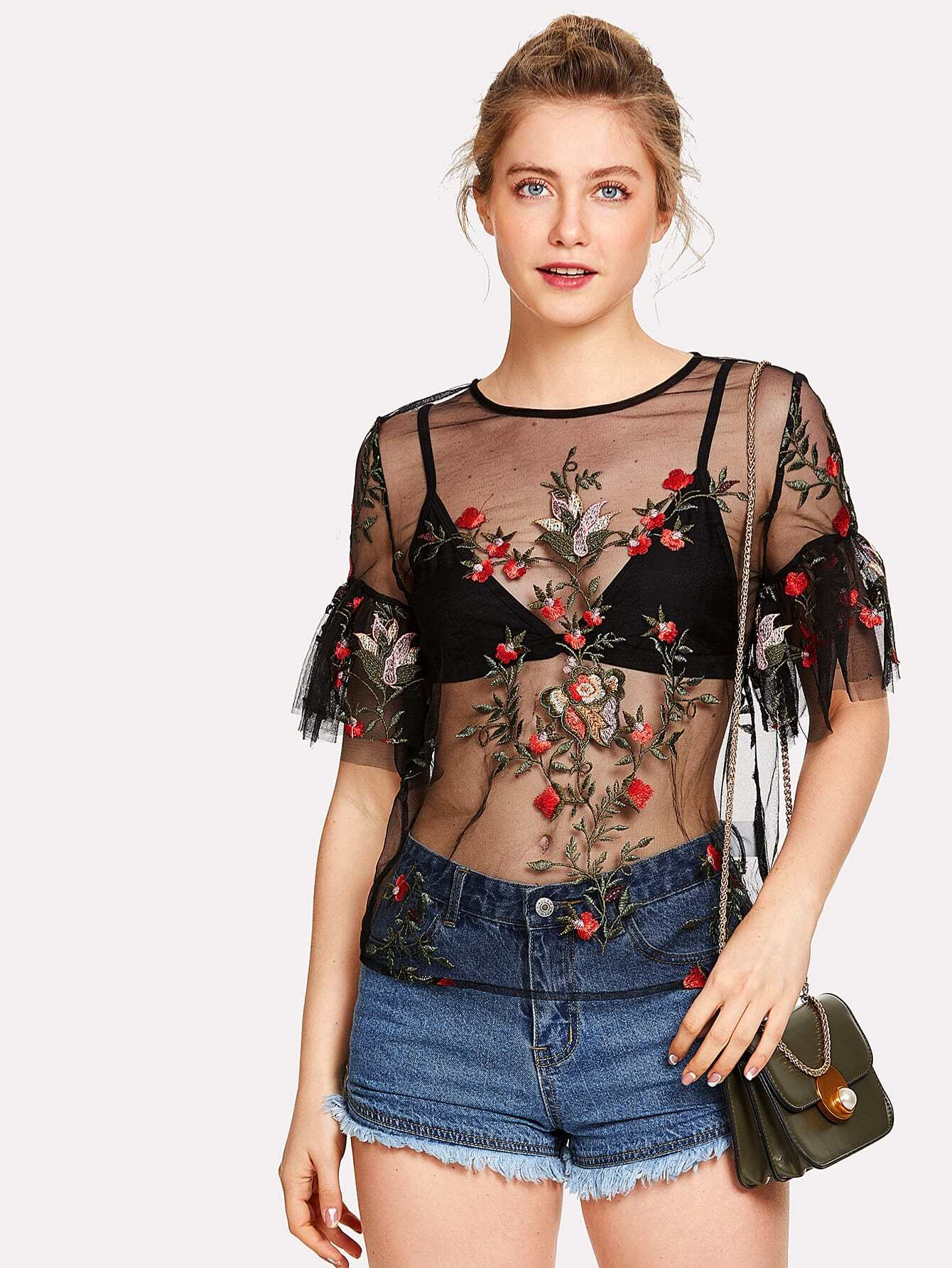 Floral Embroidered Applique Flounce Sleeve Sheer Top flounce string bra with sheer briefs