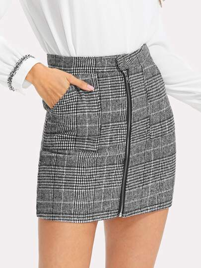 Zip Front Dual Pocket Plaid Skirt