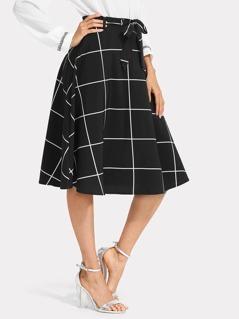 Grid Flared Skirt
