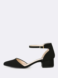 Nubuck Pointed Toe Ankle Strap Pump BLACK