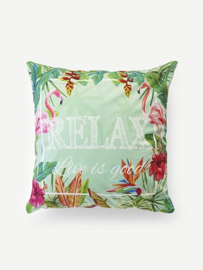 Flamingo & Tropical Print Cushion Cover